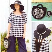 黑白配女士钩针大檐帽与蕾丝装饰手提包