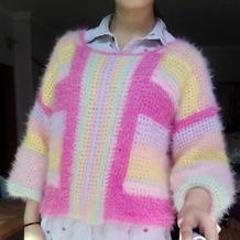 随意拼色女士钩针彩虹长袖套衫