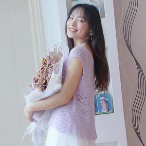 紫荆 新夏至线波浪边女士夏日钩针背心