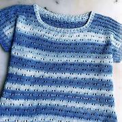 梦想 火鸡棉蓝白段染棒针短袖套头衫