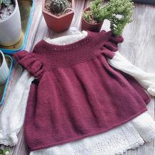 蔓越莓 从领口往下织宝宝棒针飞袖公主裙衣