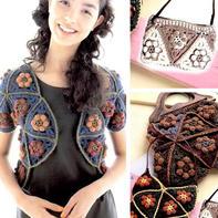 三角花样女士钩针拼花短袖外搭开衫及包包