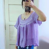 心悦 从上往下钩女士钩针宽松版型浅紫亚麻短袖