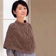 女士钩针传统阿兰纹样斗篷披肩编织图解
