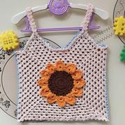 儿童钩针祖母方格向日葵吊带背心
