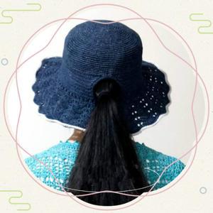马尾帽 适合长发佩戴的女士钩针棉草帽
