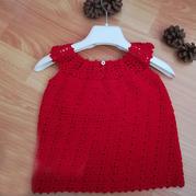 紅寶 從領口往下鉤兒童鉤針圓肩背心裙