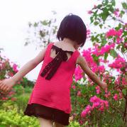 夏木 兒童鉤針系帶背心裙