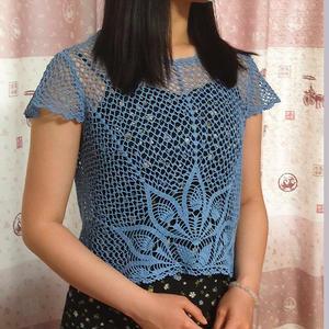 Dmc20女士钩针蕾丝短袖菠萝衫