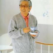 菱紋麻花圖案中老年男士棒針V領開衫毛衣