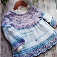 水晶紫 段染火鸡棉宝宝棒针长袖裙式罩衫
