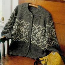 中大码气质款女士棒针灰白提花开衫毛衣