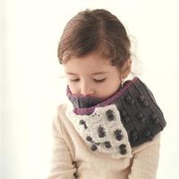 手工编织儿童棒针拼色双层围巾