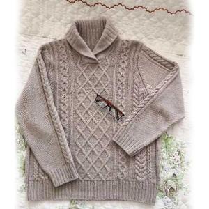 等秋来 男士棒针菱格麻花青果领套头毛衣