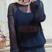 羽落 渔网针女士棒针长袖镂空衫