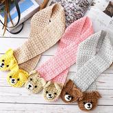 萌芽宝宝羊毛棉儿童钩针小熊围巾编织视频教程