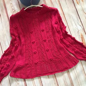 女士棒针叶子镂空花长袖毛衣