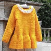 甜橙 可爱荷叶摆儿童钩针套头毛衣