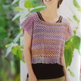 新手编织也无压力的女士钩针流苏方领套衫