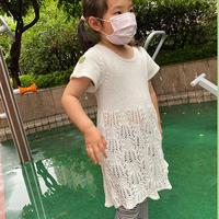 儿童棒针短袖棕榈花连衣裙