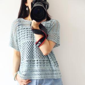 轻风 宽松版女士钩针夏日短袖罩衫