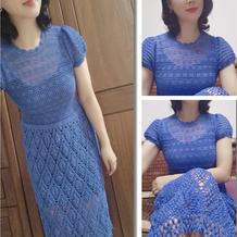 蓝颜 经典改版女士钩针小泡泡袖连衣裙