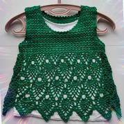绿菠萝小裙 成人款改版儿童钩针菠萝花背心裙