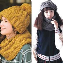 少女感十足的或钩或织阿兰花样围脖与帽子
