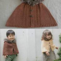 男女宝宝都适合的棒针连帽斗篷披肩