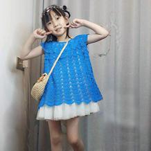 蓝梦 从领口往下钩儿童育克圆肩扇形花裙式上衣