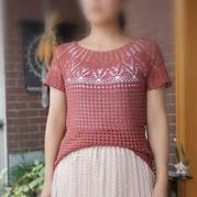 轻语 女士钩针珍珠蕾丝育克圆肩短袖衫