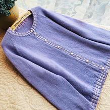 蓝花楹 香芋紫女士棒针圆领长袖开衫