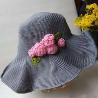 灰粉的浪漫 玫瑰花女士钩针宽檐帽