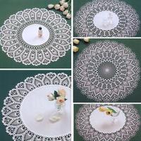 经典菠萝花钩布结合圆形蕾丝桌布4款+同款纯钩针蕾丝