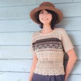 亂燉出的美麗鉤織結合女士短袖套衫