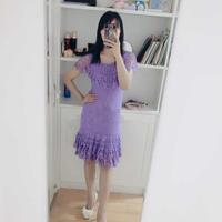 紫丁香 女士钩针花边领连衣裙