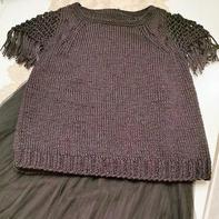 恰恰 黑色金丝扁带线女士棒针流苏短袖衫