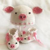 鉤針寶寶小豬帽子(3-1)零基礎學編織寶寶帽子鞋子視頻教程