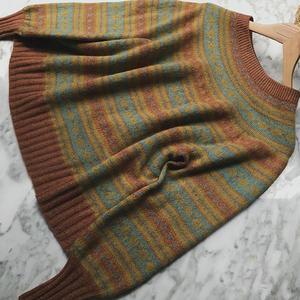 夏梦 欧美杂志改版女士棒针提花毛衣