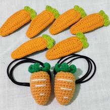 小巧可爱创意毛线编织钩针胡萝卜发夹发圈