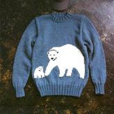 简单有爱男士棒针大熊小熊嵌花图案圆领毛衣