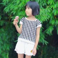 堇柠 成人款改版横钩儿童黑白条纹小衫