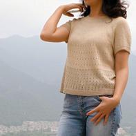 夏日女士棒针真丝短袖T恤