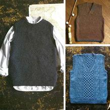 3款风格不同的初秋手工编织男款背心编织图解