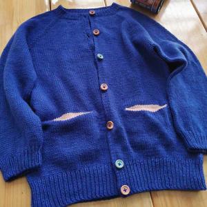 小可爱 从上往下织儿童棒针口袋开衫