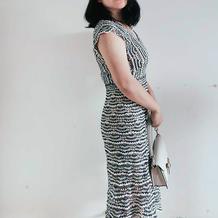 涟漪 仿大牌结构超简单的女士钩针双色连衣裙