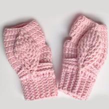 亲子钩针手套(4-3)热门浮雕叶子花帽子手套编织视频