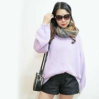 好织百搭女士棒针粉紫马海套头毛衣