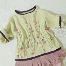 童年记忆 糖果色彩色豆豆棒针宝宝叶子花套头毛衣