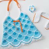 花样织法独特的棒针扇形波浪花纹儿童吊带
